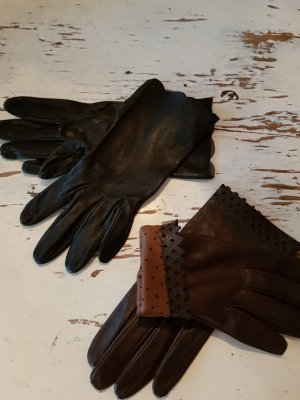 ohne Marke Leather Gloves black-brown