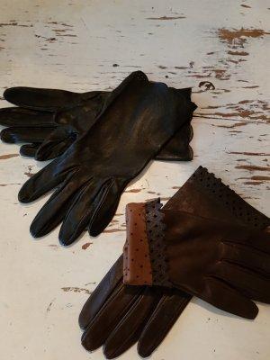 ohne Marke Gants en cuir noir-brun