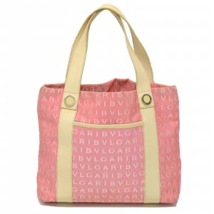 Bvlgari Bolsa de hombro rosa fibra textil