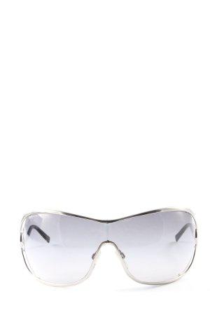 Bvlgari ovale Sonnenbrille schwarz-silberfarben Casual-Look