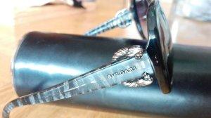 Bvlgari Sonnenbrille schwarz Metall Butterfly Form Luxus