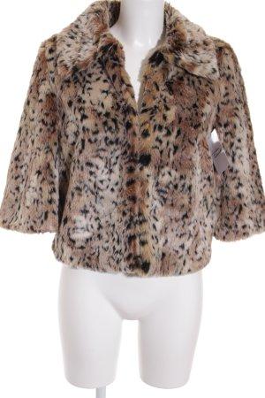 BWNY Jeans Veste en fourrure noir-marron clair motif léopard style extravagant