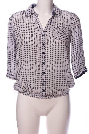 BWNY Jeans Blouse-chemisier blanc-noir imprimé allover style décontracté