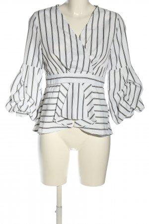 by clara Paris Long Sleeve Blouse white-black striped pattern business style
