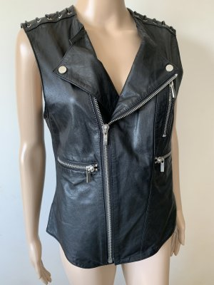 Biker Vest black leather
