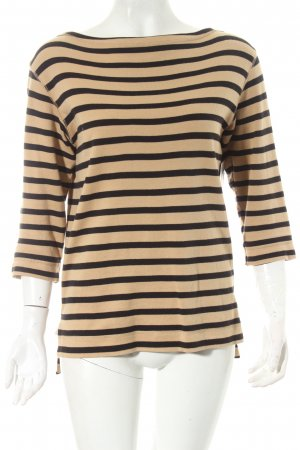 by Malene Birger Knitted Sweater black-camel striped pattern simple style
