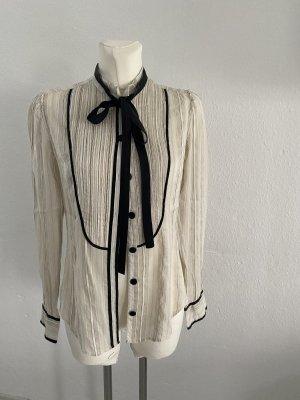 By Marlene Birger Blusa collo a cravatta bianco sporco-nero