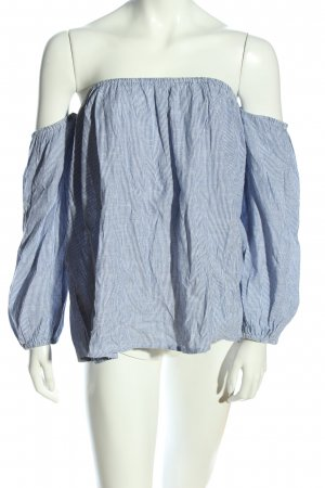 by the way. Carmen-Bluse blau-weiß Allover-Druck Casual-Look