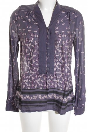 bzr Long Sleeve Blouse grey lilac-violet flower pattern casual look