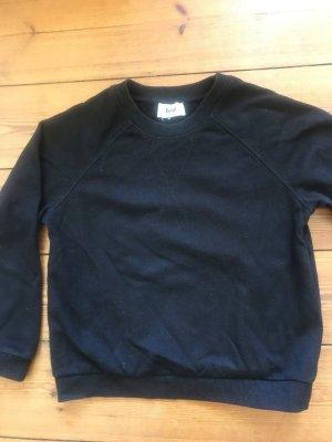 bzr Kraagloze sweater zwart-zilver Katoen