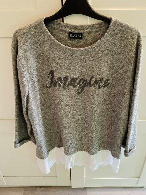 C&A Jersey de cuello redondo gris claro-blanco