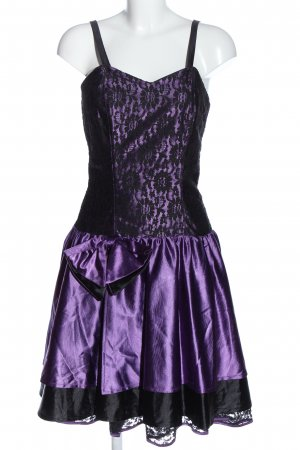 C&A Vestido de baile lila-negro estampado floral estilo extravagante