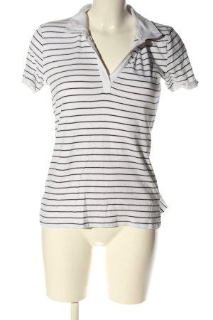 C&A Basics Polo Shirt black-white striped pattern casual look