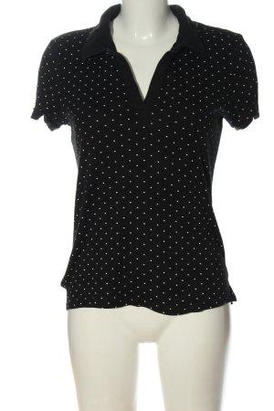 C&A Basics Polo Shirt black-white spot pattern elegant