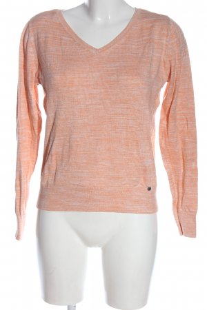 C&A Basics V-Ausschnitt-Pullover hellorange meliert Casual-Look