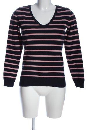 C&A Basics Sweter z dekoltem w kształcie litery V czarny-różowy Wzór w paski