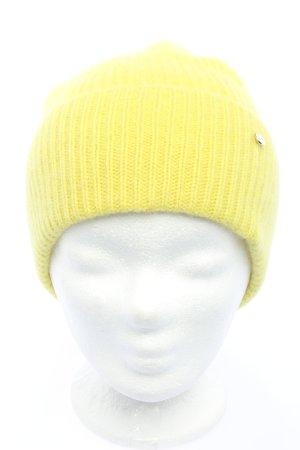 C&A Berretto giallo pallido punto treccia stile casual