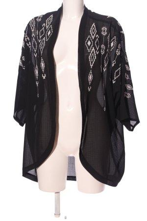 C&A Cardigan schwarz-weiß grafisches Muster Casual-Look