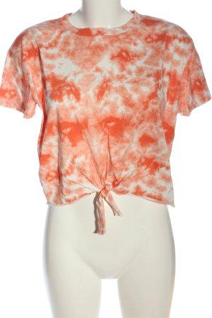 C&A Clockhouse Top batik blanc-orange clair imprimé allover style décontracté