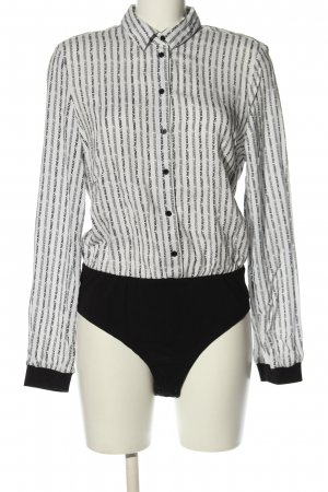 C&A Clockhouse Bodysuit Blouse white-black printed lettering casual look