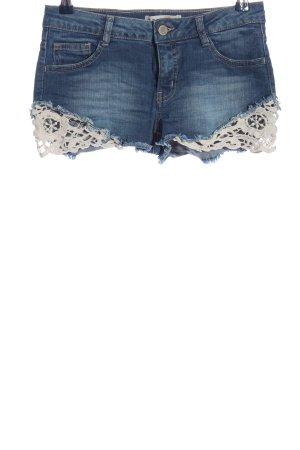 C&A Clockhouse Pantaloncino di jeans blu-bianco stile casual
