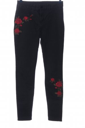 C&A Clockhouse Jeggings schwarz-rot Blumenmuster Casual-Look