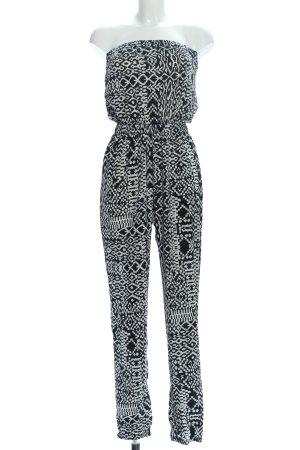C&A Clockhouse Jumpsuit schwarz-weiß Allover-Druck Casual-Look