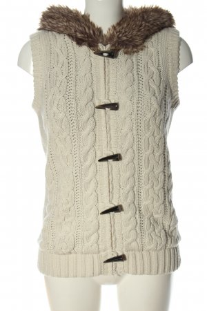 C&A Clockhouse Fake Fur Vest natural white cable stitch casual look