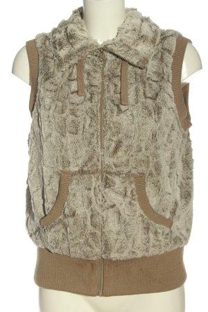 C&A Clockhouse Chaleco de piel sintética marrón-blanco puro look casual
