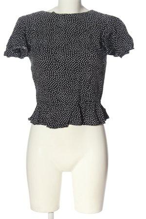C&A Clockhouse Kurzarm-Bluse schwarz-weiß Allover-Druck Elegant