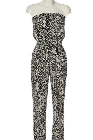 C&A Clockhouse Kurzer Jumpsuit schwarz-weiß Allover-Druck Elegant
