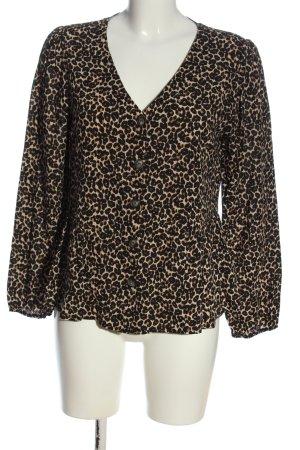 C&A Clockhouse Blouse met lange mouwen zwart-room luipaardprint zakelijke stijl