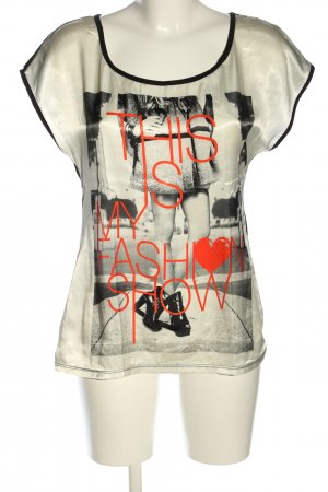 C&A Clockhouse Print-Shirt hellgrau-schwarz Motivdruck Casual-Look