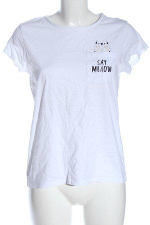 C&A Clockhouse T-shirt imprimé blanc-noir imprimé avec thème