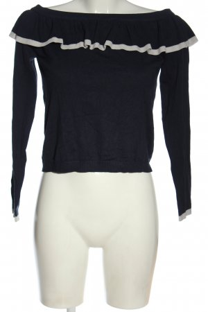 C&A Clockhouse Kraagloze sweater blauw-wit casual uitstraling