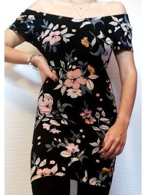 C&A Clockhouse schwarz geblümtes Bodycon Kleid Off Shoulder | Größe L/40-M/38