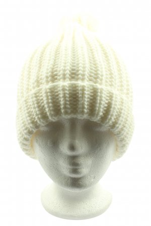 C&A Clockhouse Sombrero de punto blanco puro punto trenzado look casual