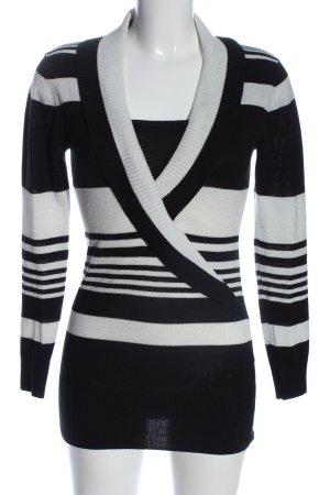 C&A Clockhouse Strickpullover schwarz-weiß Streifenmuster Casual-Look
