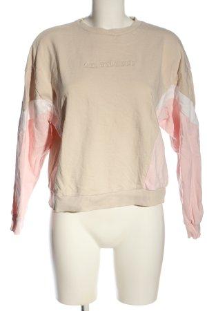 C&A Clockhouse Sweatshirt creme-pink Schriftzug gestickt Casual-Look