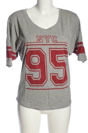 C&A Clockhouse T-shirt grigio chiaro-rosso puntinato stile casual