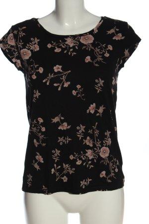 C&A Clockhouse T-shirt zwart-nude bloemenprint casual uitstraling