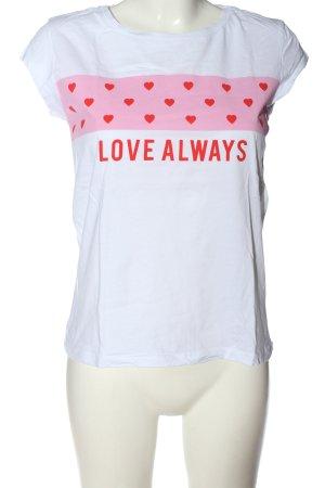 C&A Clockhouse T-shirt wit-roze prints met een thema casual uitstraling