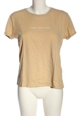 C&A Clockhouse T-shirt nude geborduurde letters casual uitstraling
