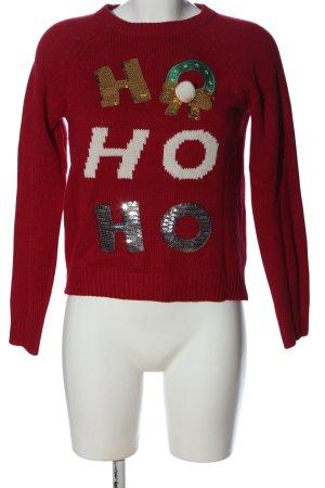 C&A Clockhouse Weihnachtspullover rot-weiß Schriftzug gedruckt Casual-Look