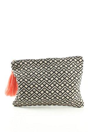 C&A Clutch schwarz-wollweiß grafisches Muster Casual-Look