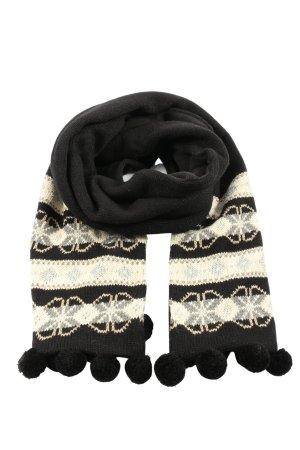 C&A Bufanda de ganchillo negro-crema estampado temático look casual