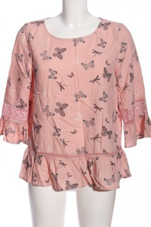 C&A Hemd-Bluse pink-hellgrau Allover-Druck Casual-Look