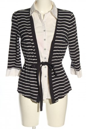 C&A Hemd-Bluse wollweiß-schwarz Streifenmuster Casual-Look
