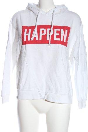 C&A Sudadera con capucha blanco-rojo letras impresas look casual
