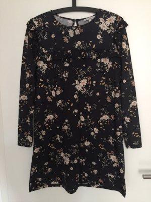 C&A Kleid Blumen Rüsche schwarz M